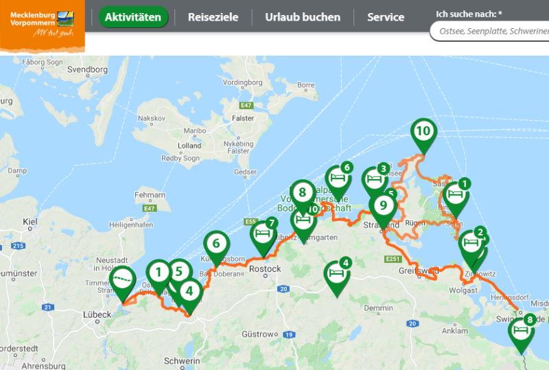 Ostseeküsten-Radweg Mecklenburg Vorpommern